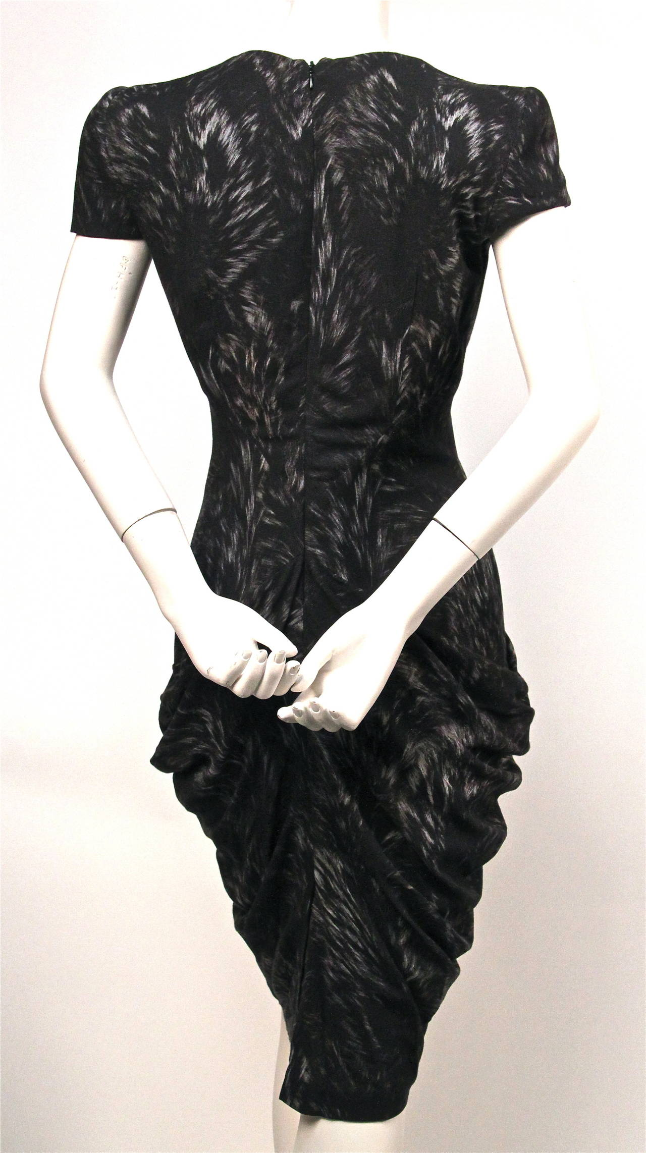 2010 ALEXANDER MCQUEEN fox printed draped dress  3