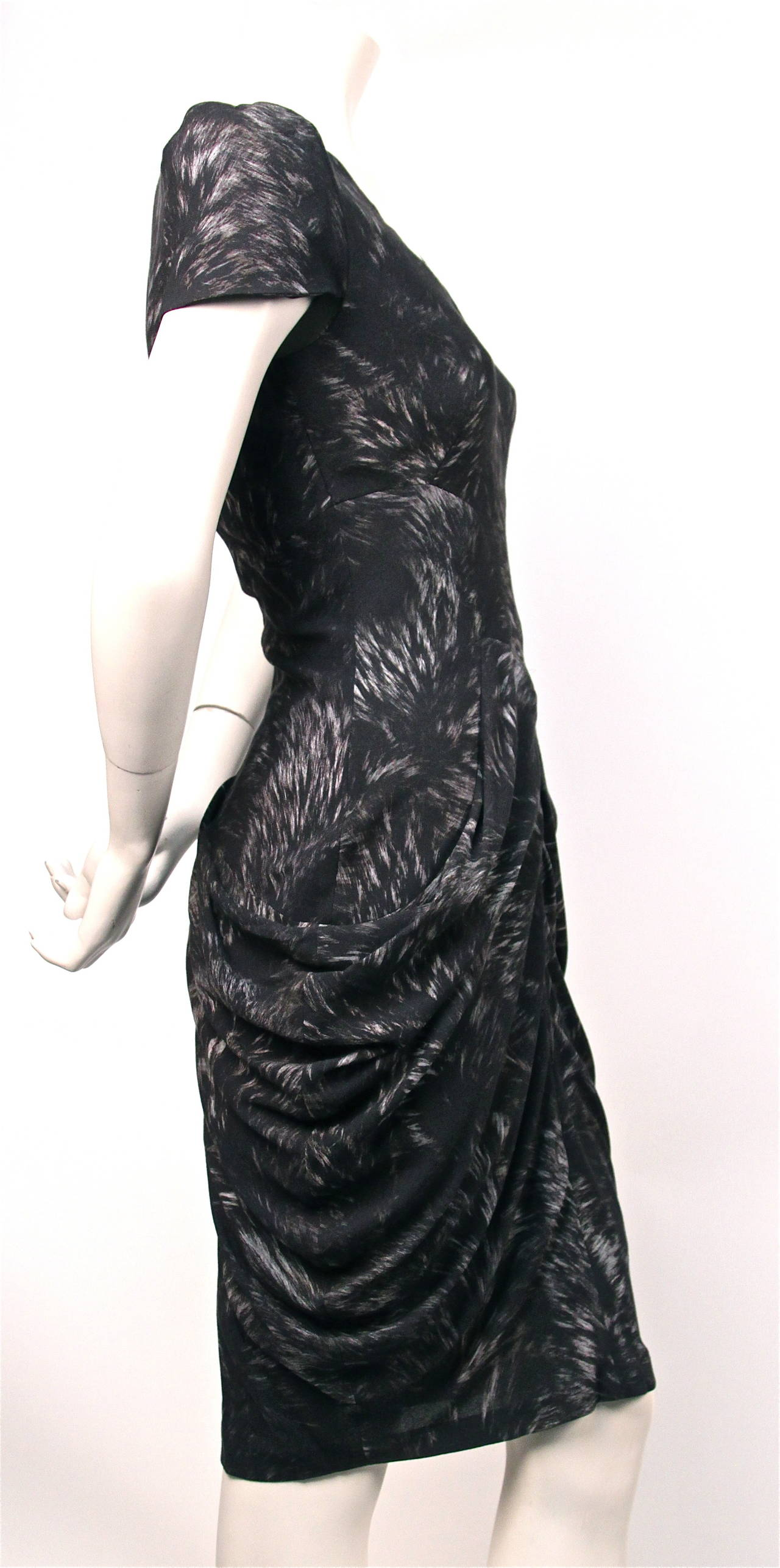 2010 ALEXANDER MCQUEEN fox printed draped dress  2