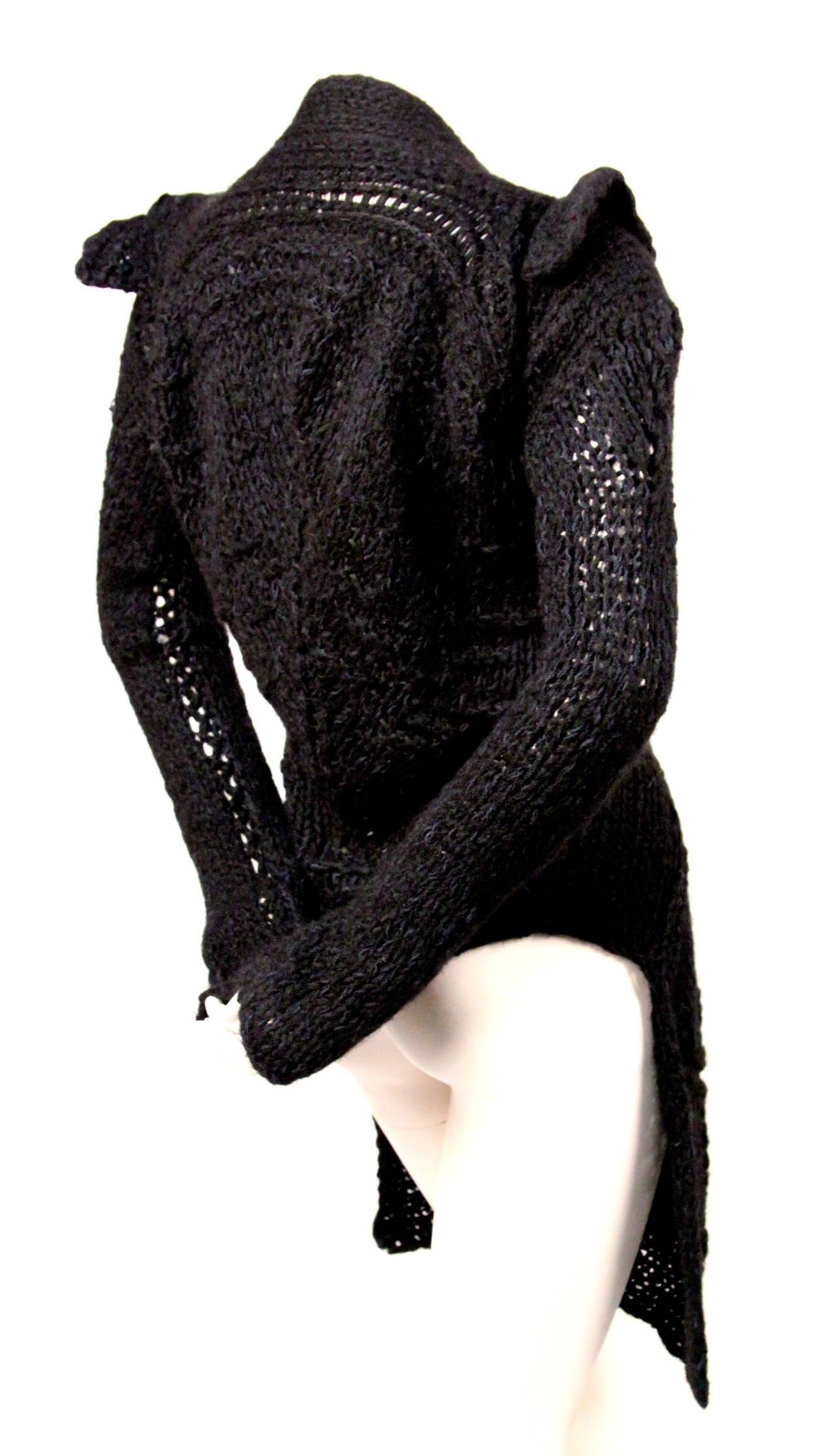 RICK OWENS black hand knit alpaca cardigan with peaked shoulders & waist tie 3
