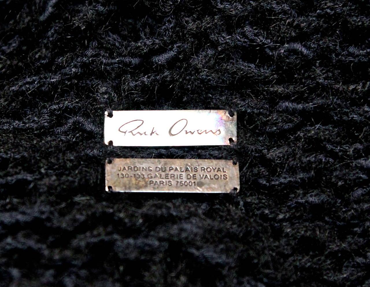 RICK OWENS black hand knit alpaca cardigan with peaked shoulders & waist tie 5