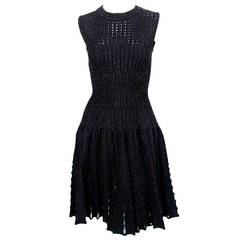 Azzedine Alaia black lurex knit dress with cut-outs