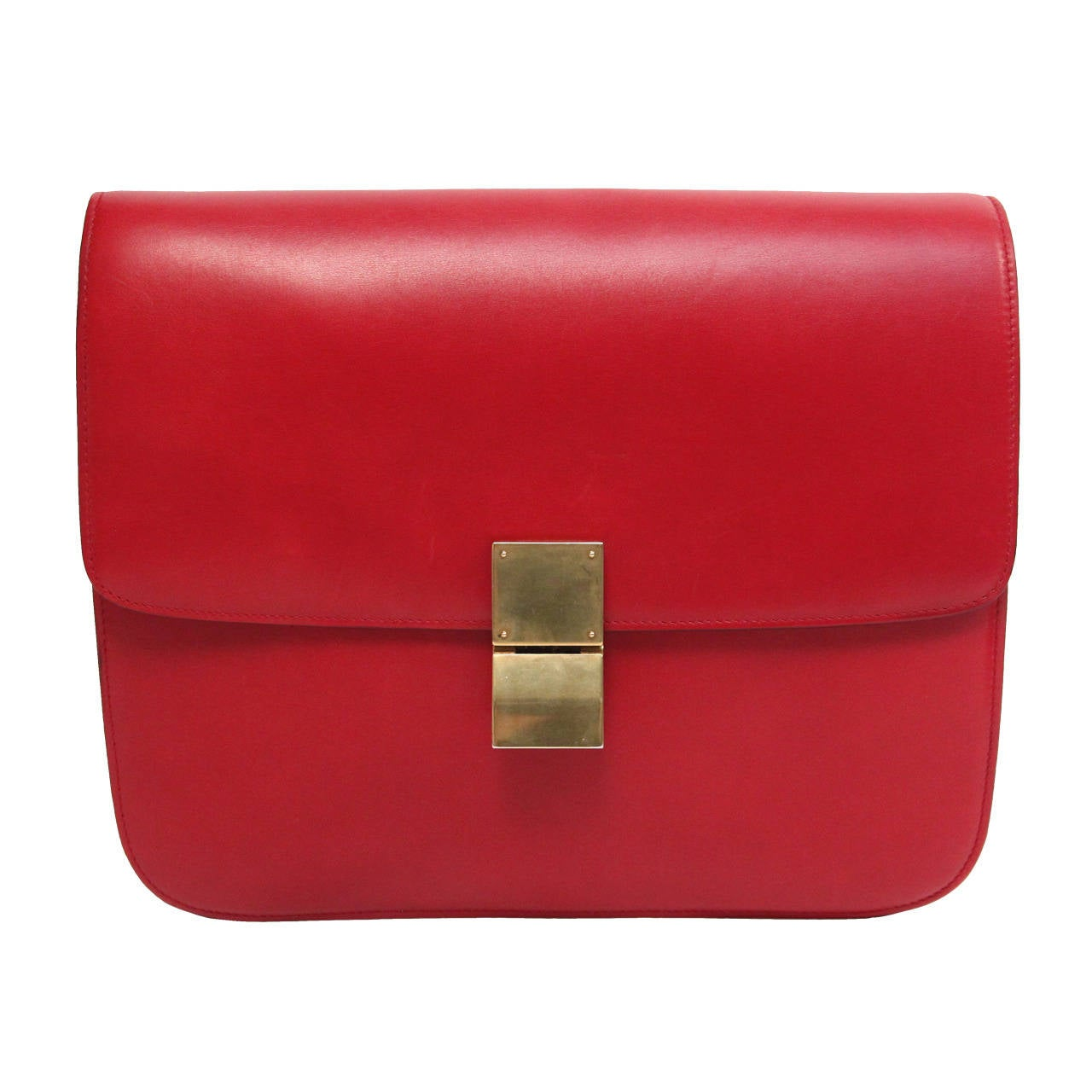 CELINE large classic box leather bag with convertible strap in red For Sale