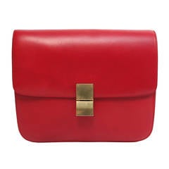 CELINE large classic box leather bag with convertible strap in red