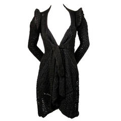 RICK OWENS black hand knit alpaca cardigan with peaked shoulders & waist tie