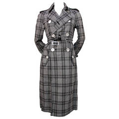 JUNYA WATANABE black and white woven houndstooth check trench coat - 2003