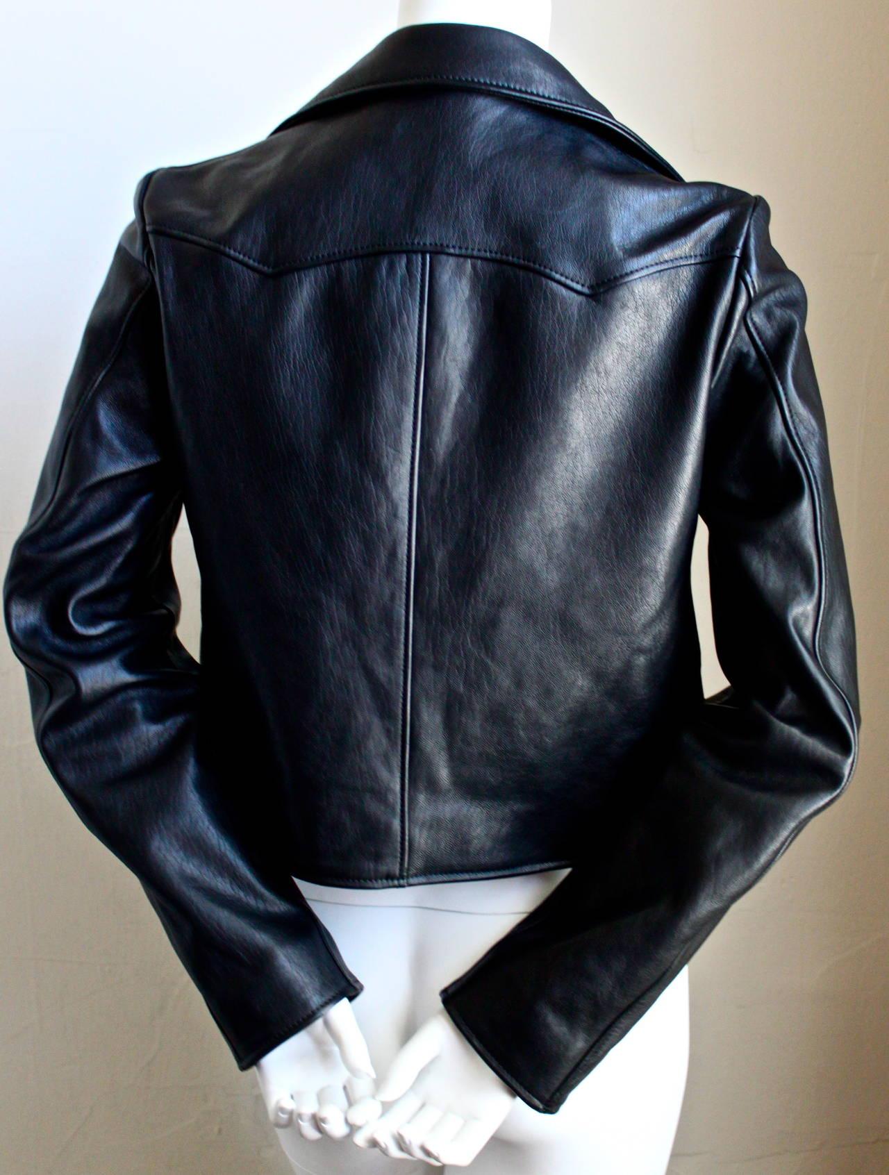HEDI SLIMANE for SAINT LAURENT  black leather runway leather jacket - NEW 2