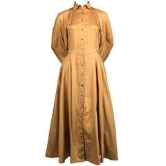 1980's AZZEDINE ALAIA muted marigold cotton dress with full skirt & snap closure