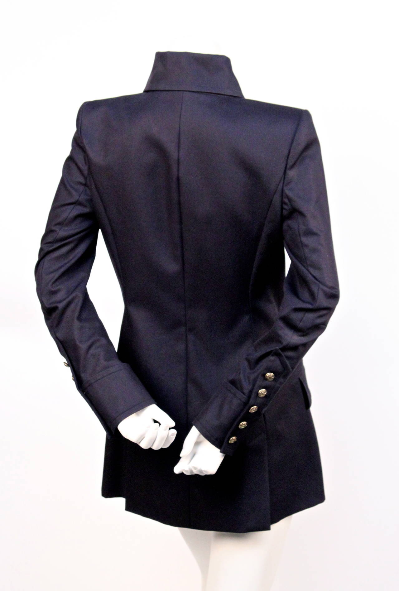 new BALMAIN navy blue tailored blazer jacket  3