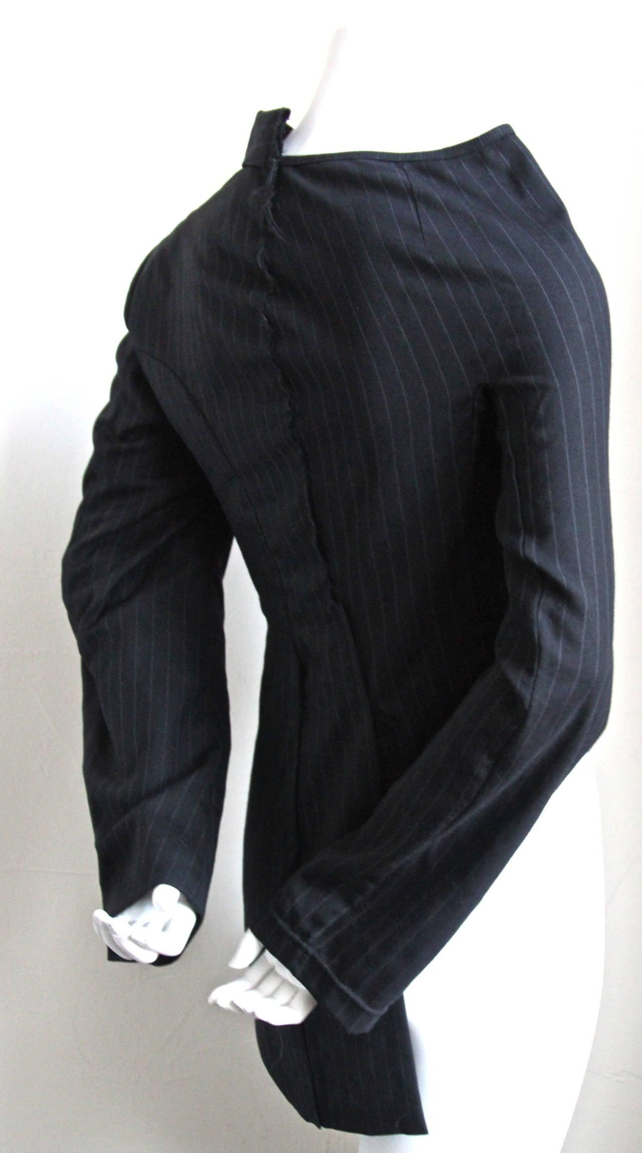 COMME DES GARCONS black pinstriped menswear asymmetrical half jacket 2