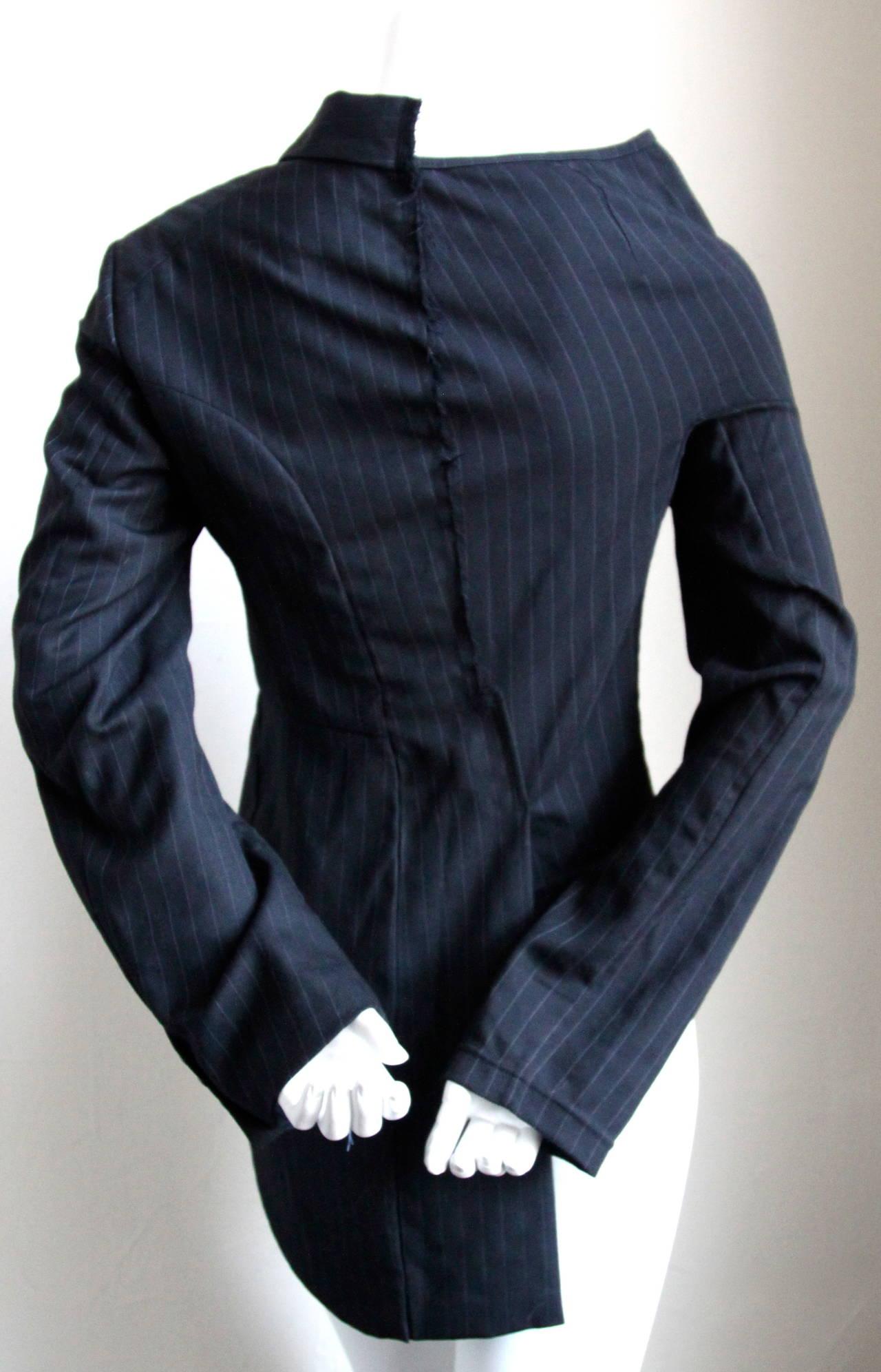COMME DES GARCONS black pinstriped menswear asymmetrical half jacket 3
