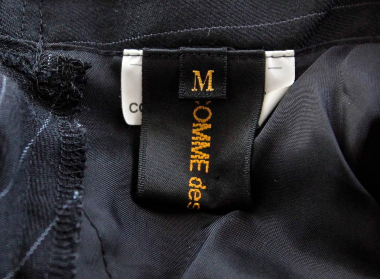 COMME DES GARCONS black pinstriped menswear asymmetrical half jacket 4