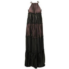 Lanvin brown silk tiered gown with rhinestone collar