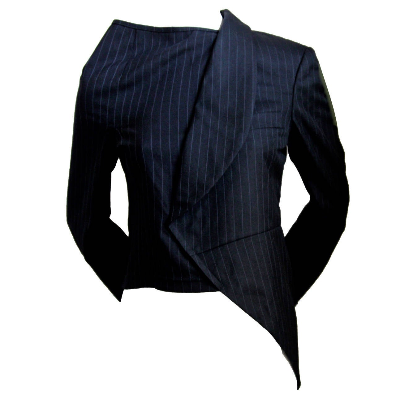 COMME DES GARCONS black pinstriped menswear asymmetrical half jacket 1
