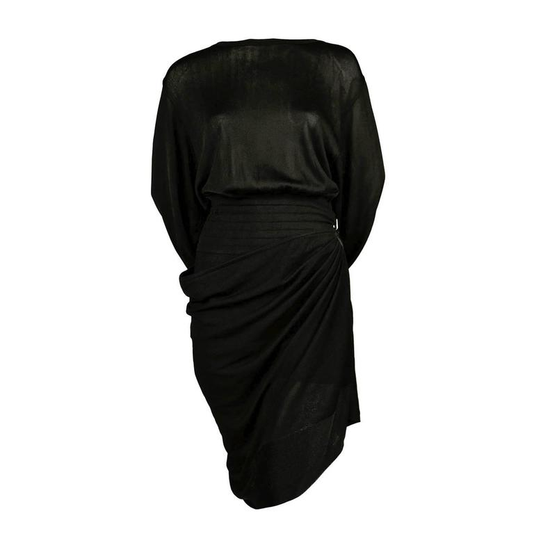 1980's AZZEDINE ALAIA jet black summer playsuit with draped skirt For Sale