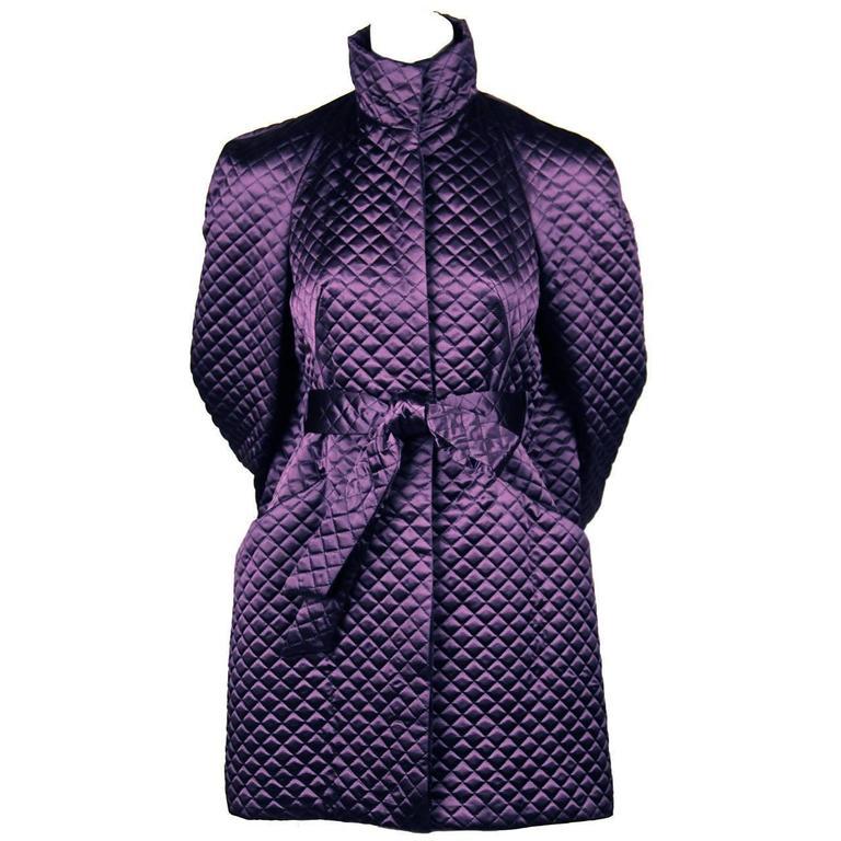 Alexander McQueen purple satin quilted runway coat, 2007