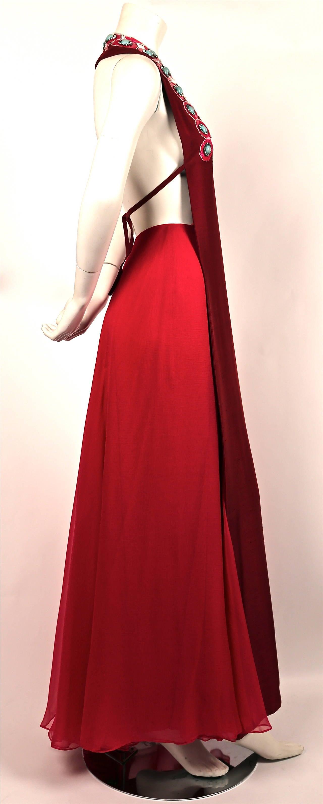 1960's MADAME GRES fuchsia beaded slub silk tabard & silk chiffon skirt ensemble 2