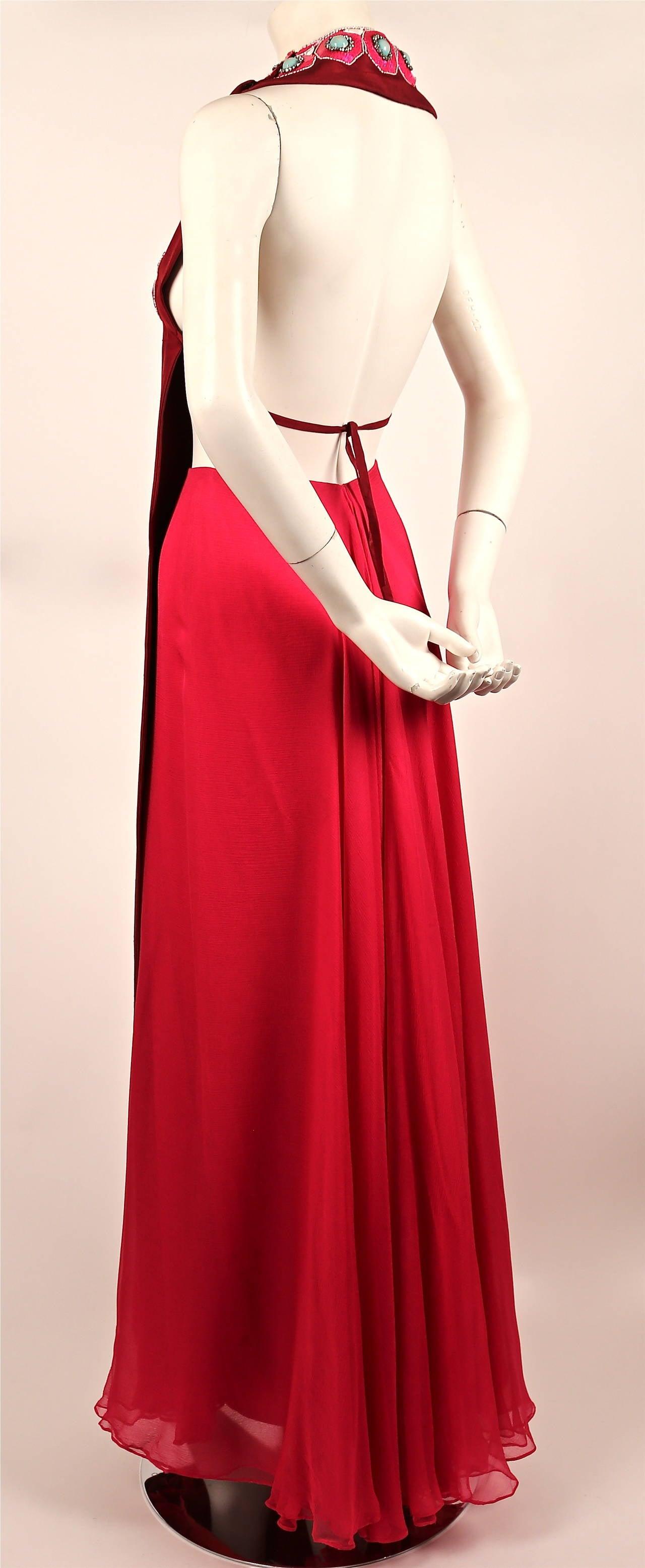 1960's MADAME GRES fuchsia beaded slub silk tabard & silk chiffon skirt ensemble 3