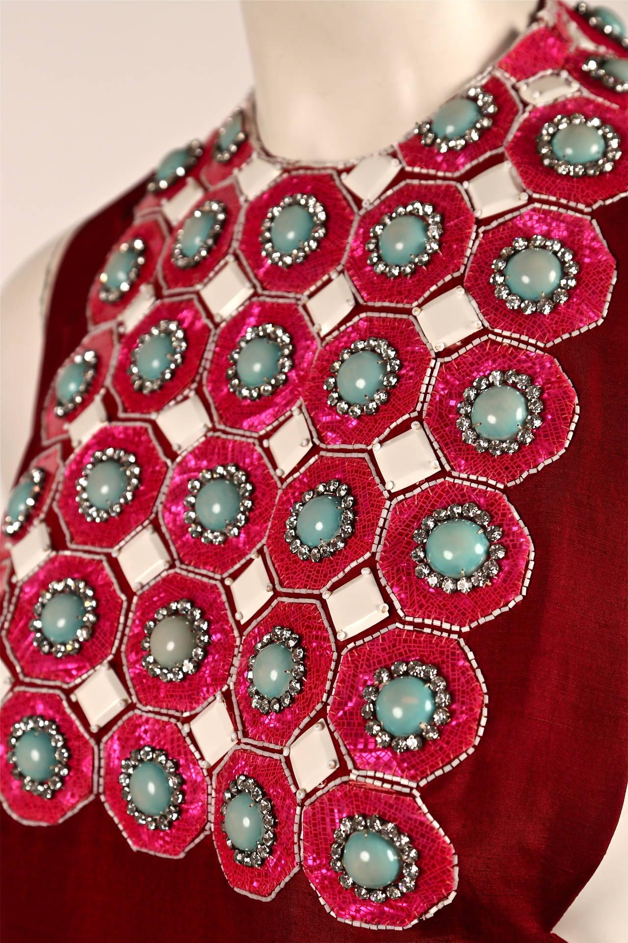 1960's MADAME GRES fuchsia beaded slub silk tabard & silk chiffon skirt ensemble 6