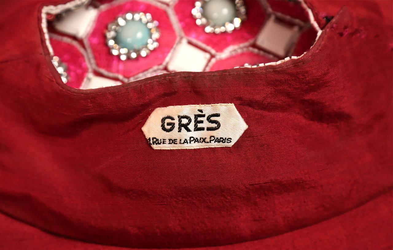 1960's MADAME GRES fuchsia beaded slub silk tabard & silk chiffon skirt ensemble 8