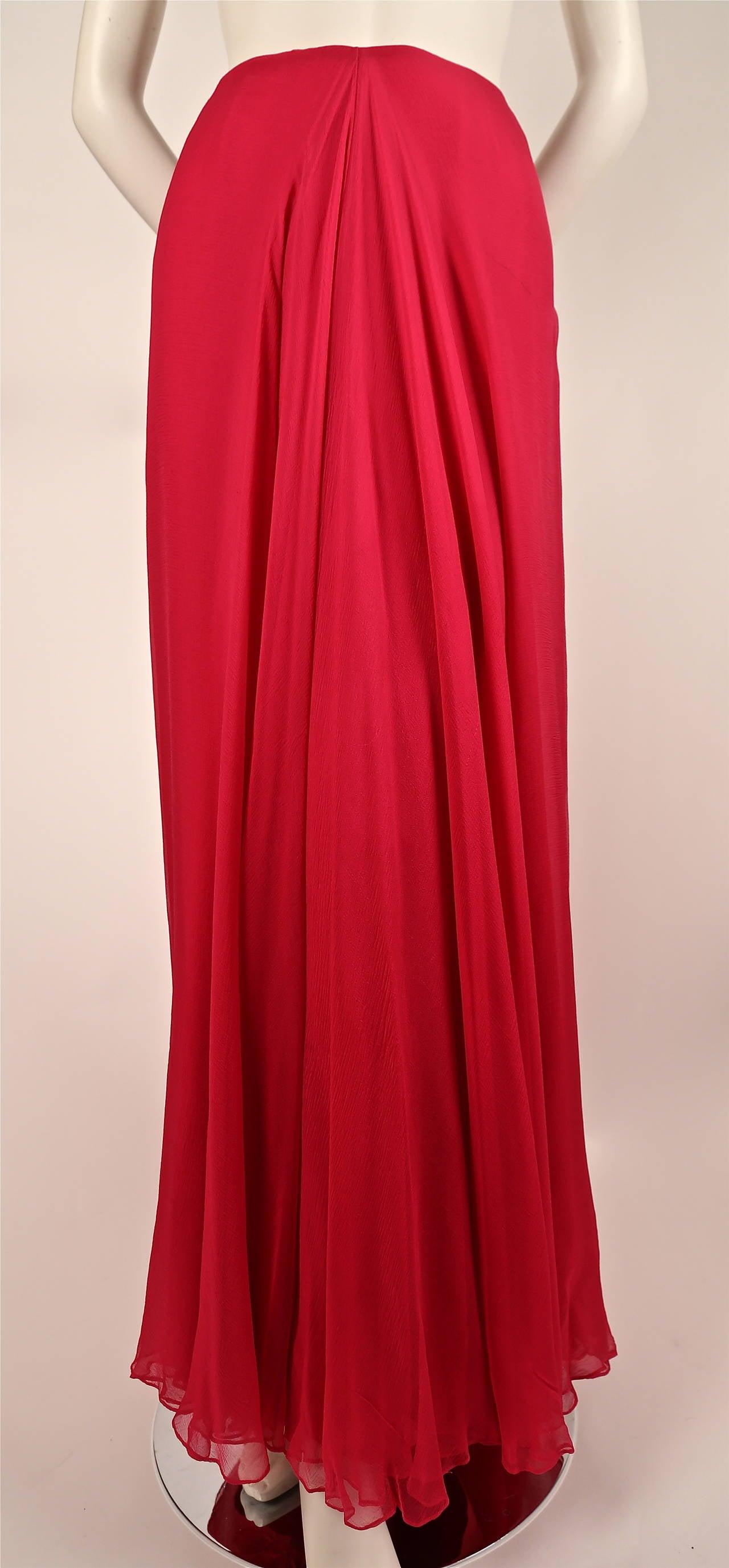 1960's MADAME GRES fuchsia beaded slub silk tabard & silk chiffon skirt ensemble 4