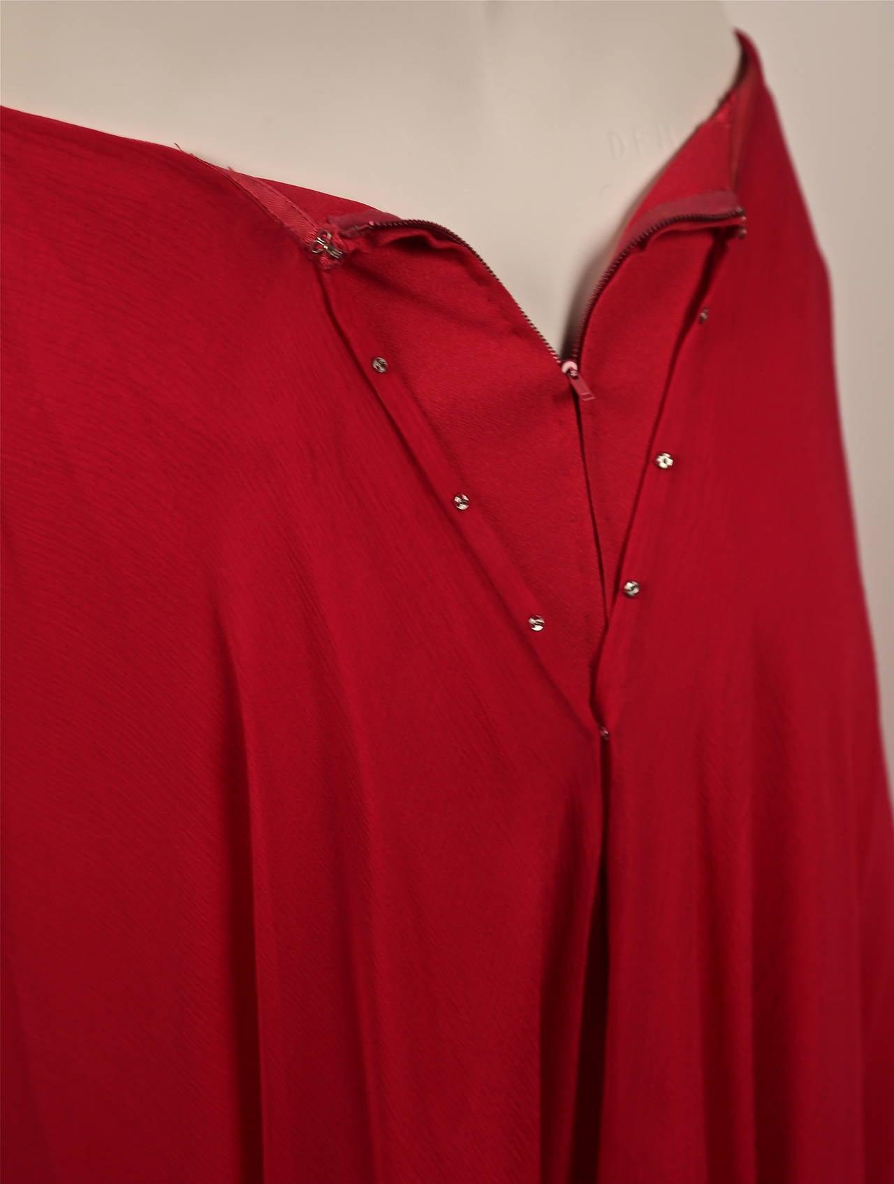 1960's MADAME GRES fuchsia beaded slub silk tabard & silk chiffon skirt ensemble 5