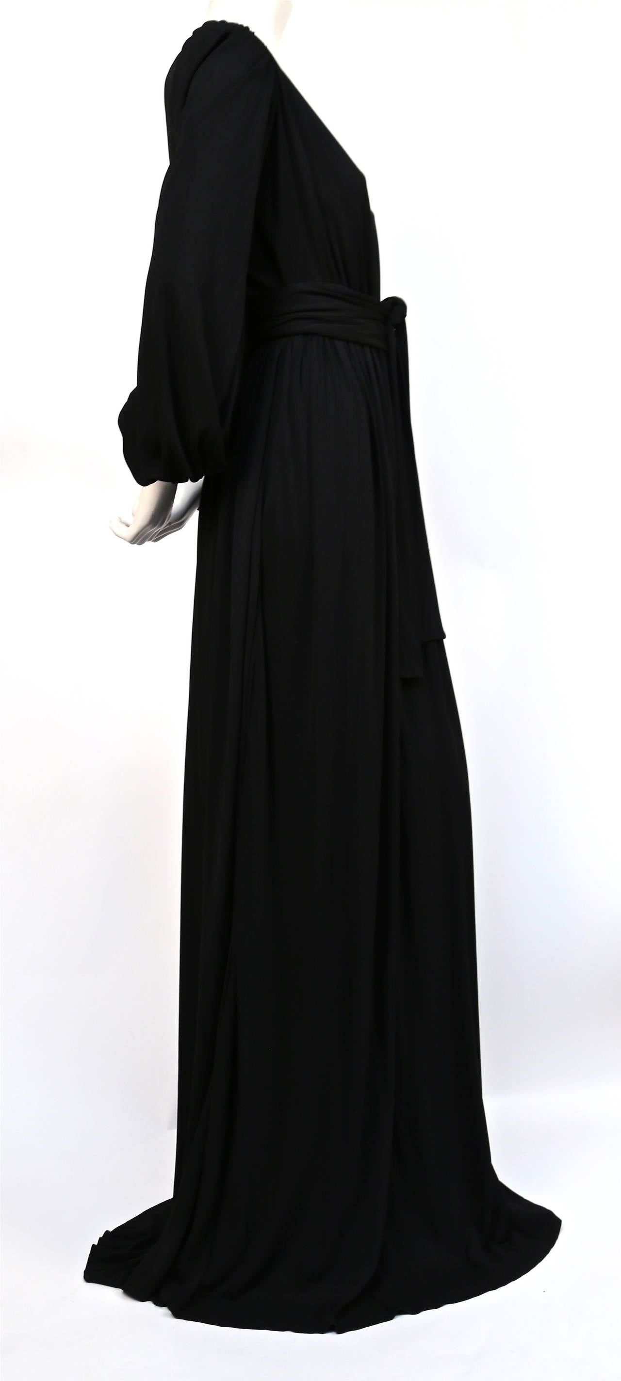 Black 1970's YVES SAINT LAURENT long black jersey gown with matching sash For Sale