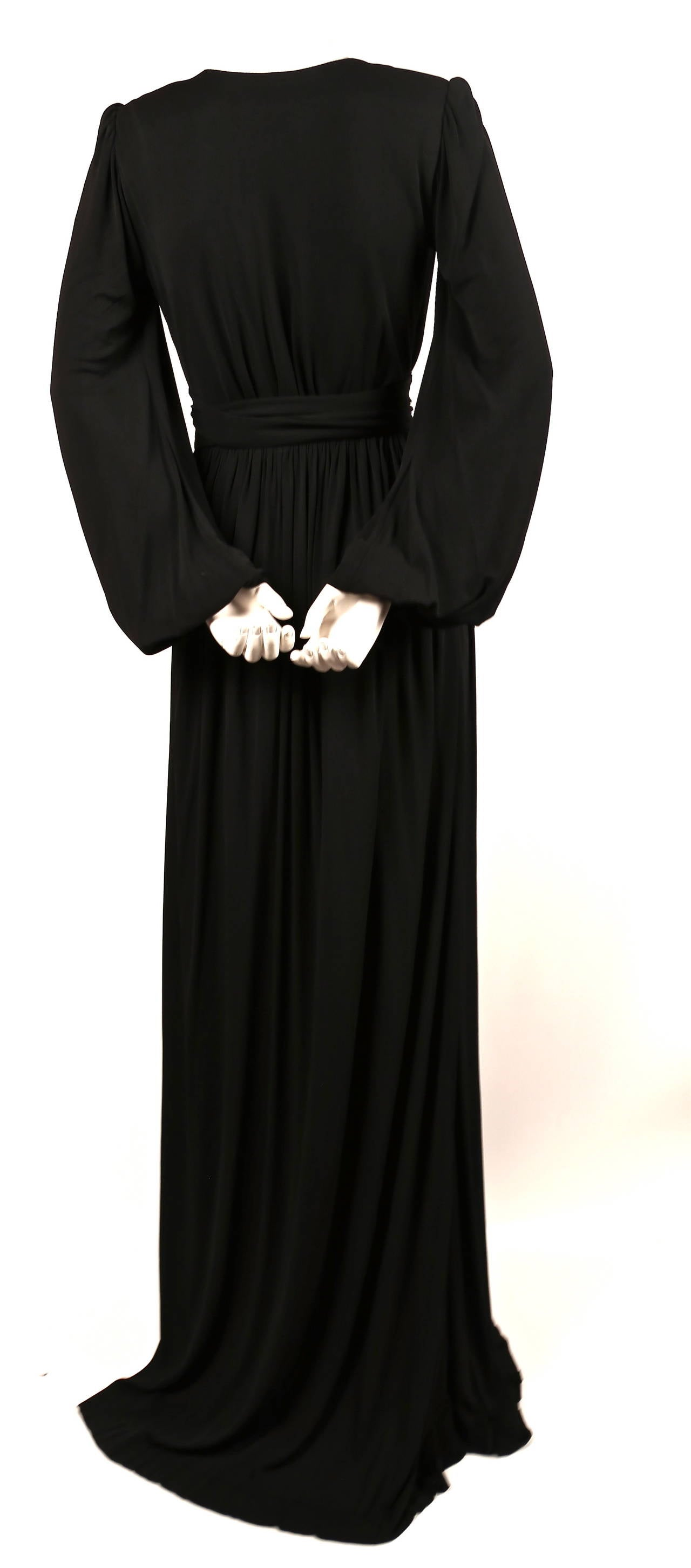 1970's YVES SAINT LAURENT long black jersey gown with matching sash In Excellent Condition For Sale In San Fransisco, CA