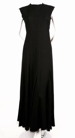 CELINE by PHOEBE PHILO black runway dress with fringed hemline