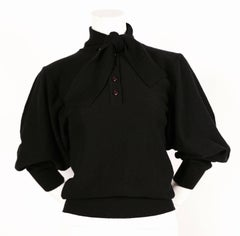 1970's SONIA RYKIEL black wool sweater with open arms and necktie