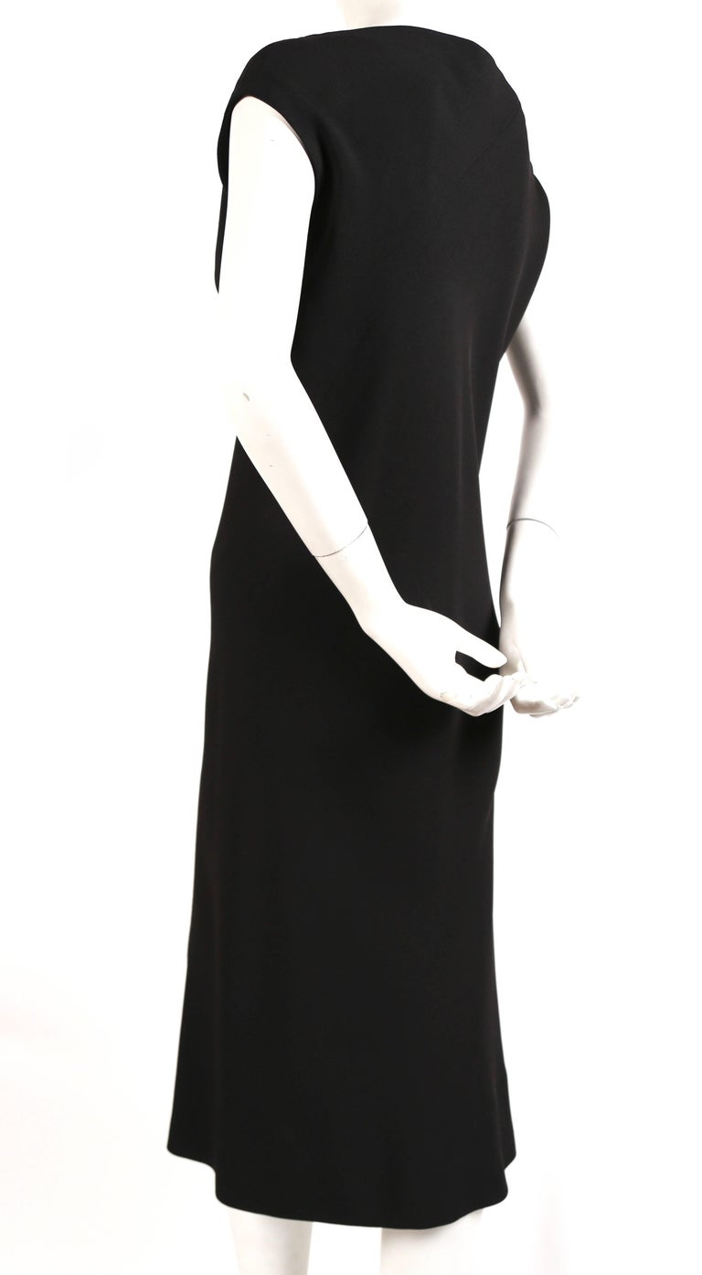 1970's HALSTON black bias silk cut dress  In Excellent Condition For Sale In San Fransisco, CA