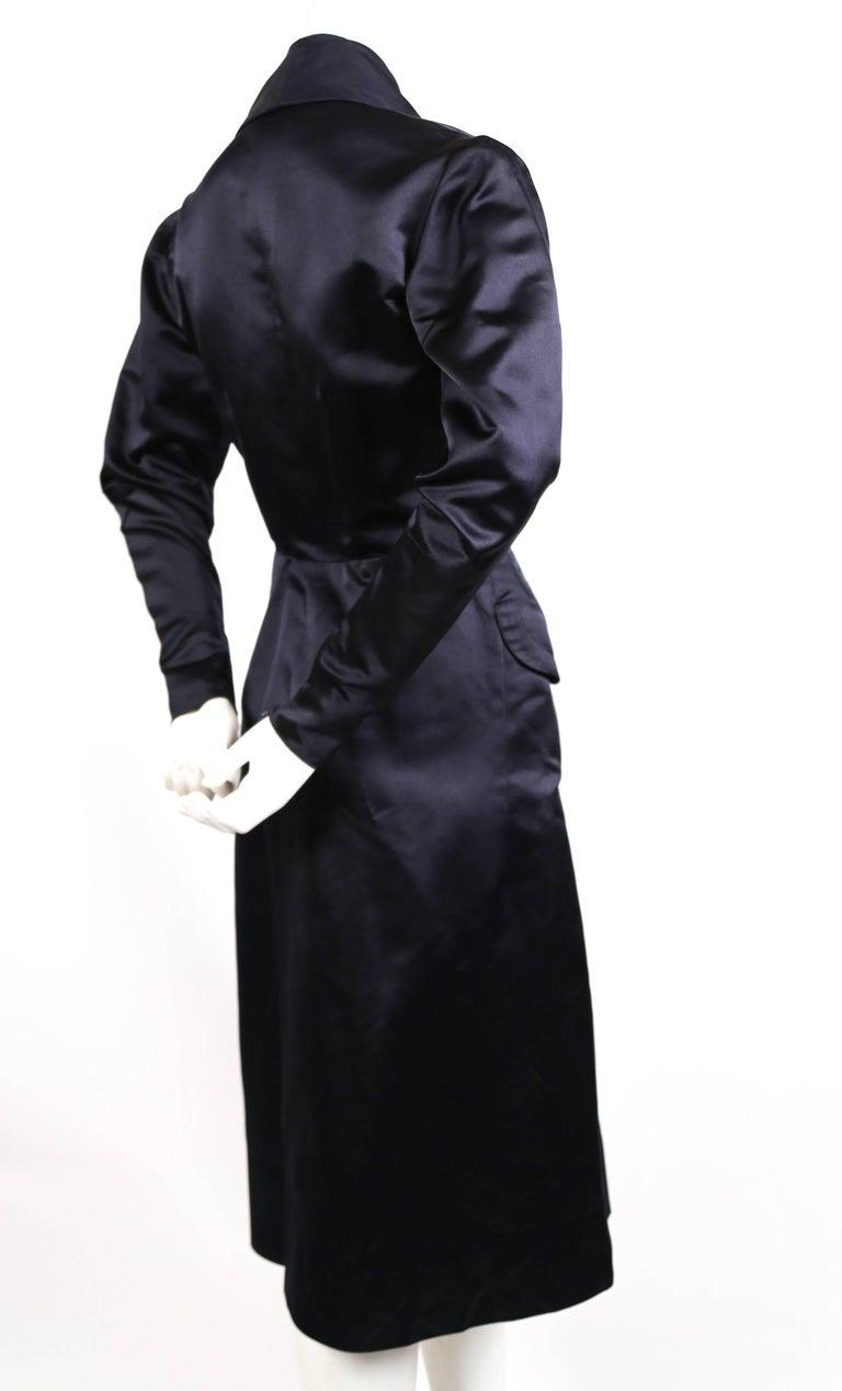 Black 1940's JACQUES FATH navy blue satin coat dress For Sale