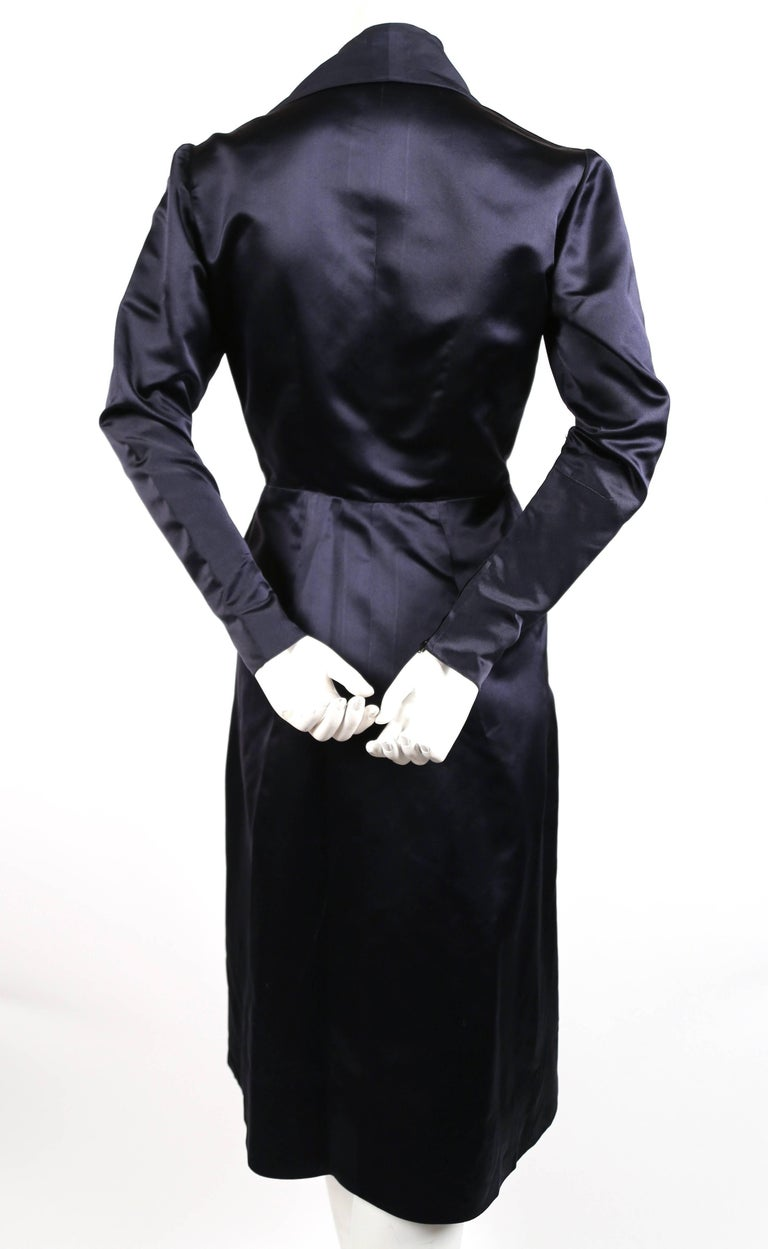 Jacques Fath navy blue satin coat dress, 1940s  In Good Condition For Sale In San Fransisco, CA