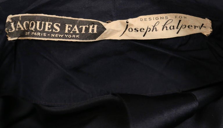 1940's JACQUES FATH navy blue satin coat dress For Sale 1
