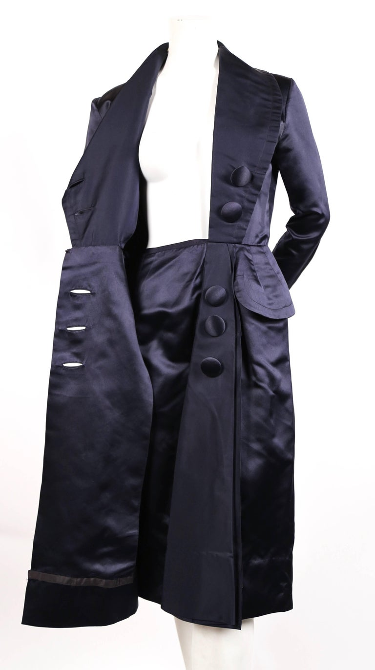 Women's or Men's 1940's JACQUES FATH navy blue satin coat dress For Sale