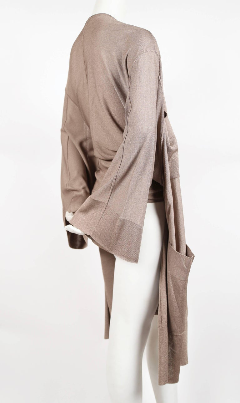 Brown 1980's AZZEDINE ALAIA taupe knit jacket with waist tie For Sale