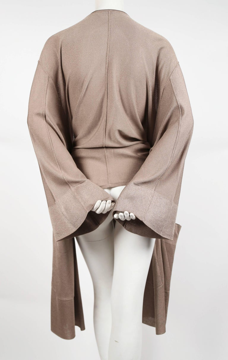 Women's 1980's AZZEDINE ALAIA taupe knit jacket with waist tie For Sale