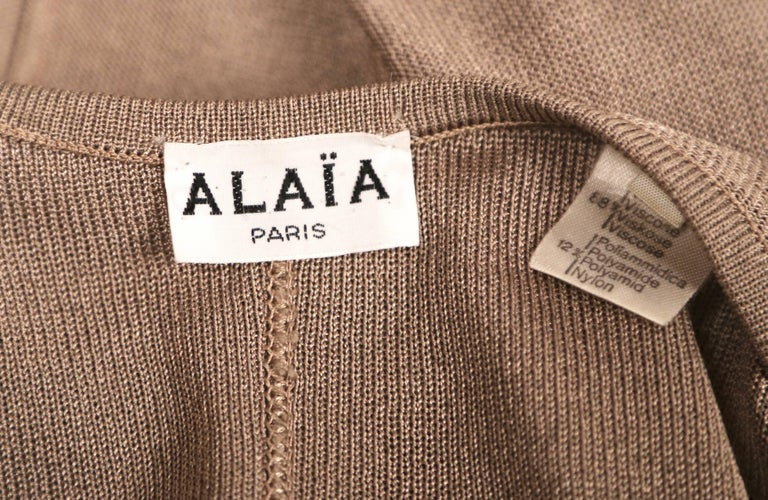 1980's AZZEDINE ALAIA taupe knit jacket with waist tie 6