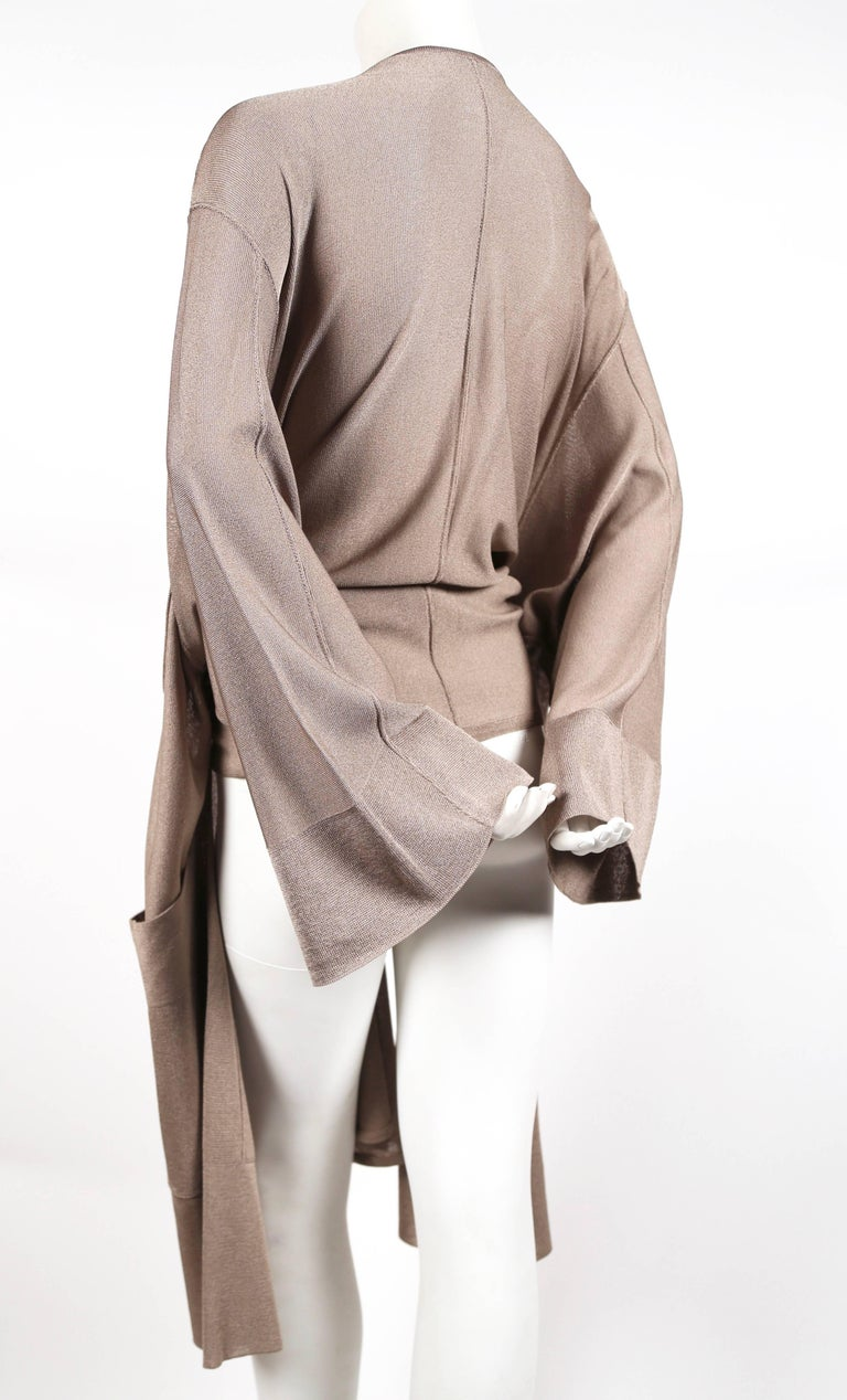 1980's AZZEDINE ALAIA taupe knit jacket with waist tie In Excellent Condition For Sale In San Fransisco, CA