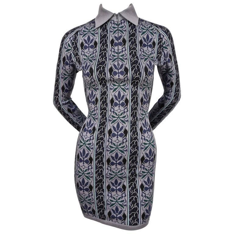 1990 Azzedine Alaia woven abstract floral mini dress For Sale