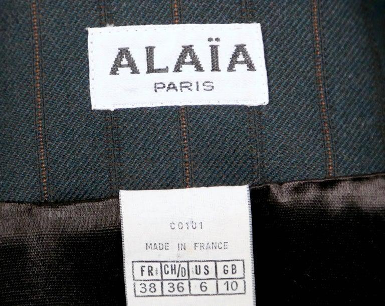 Azzedine Alaia forest green suit with burgundy piping, 1990 For Sale 2