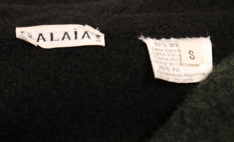 Women's or Men's Azzedine Alaia navy blue and green wool cardigan sweater, 1994 For Sale