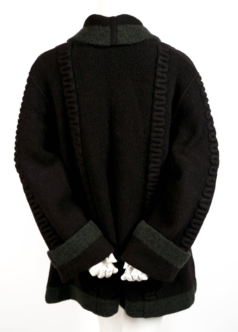 Azzedine Alaia navy blue and green wool cardigan sweater, 1994 In Excellent Condition For Sale In San Francisco, CA