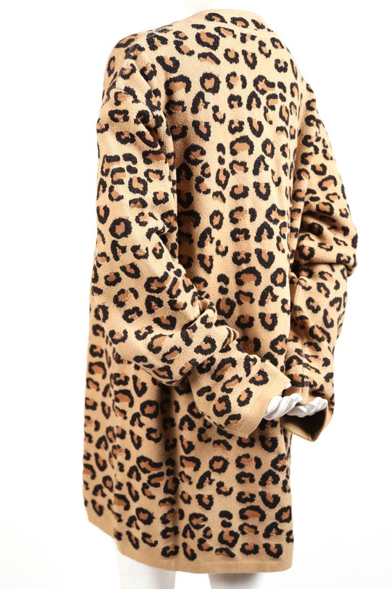 Beige Azzedine Alaia oversized leopard V-neck tunic dress, 1991  For Sale