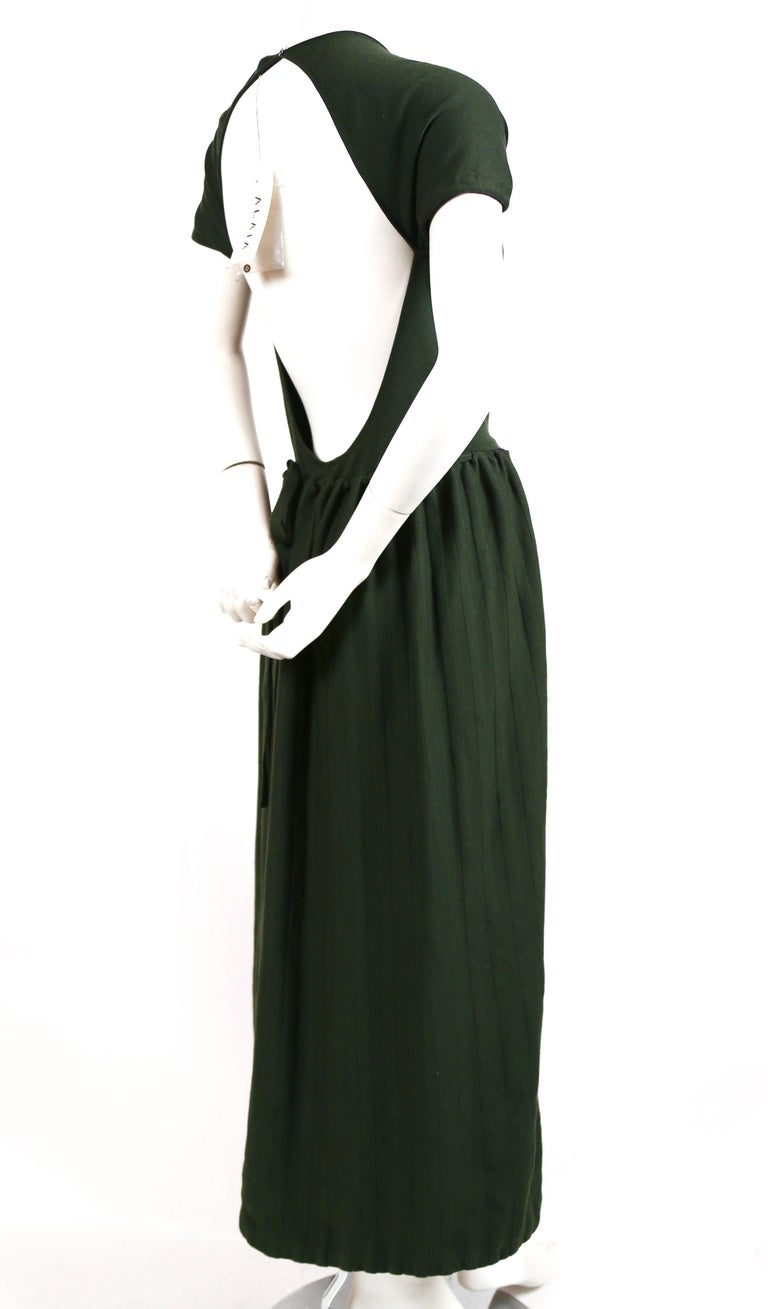 Azzedine Alaia forest green wool knit dress with open back, 1990s In New Condition For Sale In San Fransisco, CA