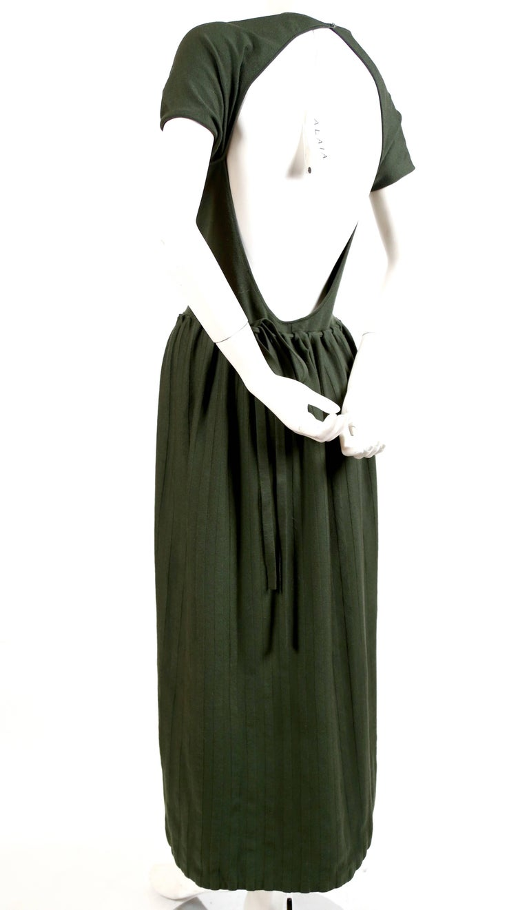 Black new 1990's AZZEDINE ALAIA forest green wool knit dress with open back For Sale