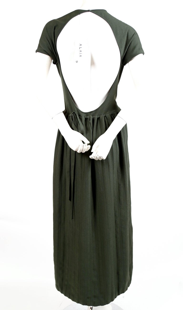 Women's or Men's Azzedine Alaia forest green wool knit dress with open back, 1990s For Sale