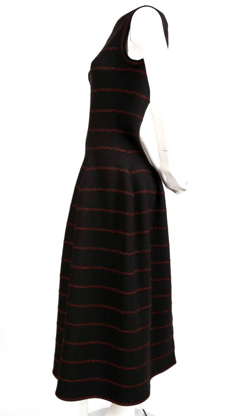 Azzedine Alaia long black knit dress with red lurex detail In Excellent Condition For Sale In San Fransisco, CA