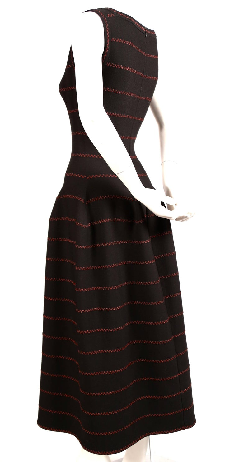 Black Azzedine Alaia long black knit dress with red lurex detail For Sale