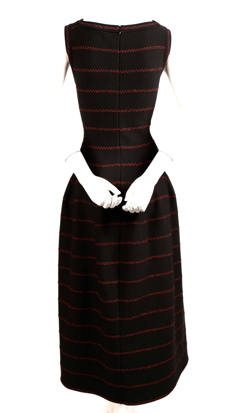 Azzedine Alaia long black knit dress with red lurex detail For Sale 1