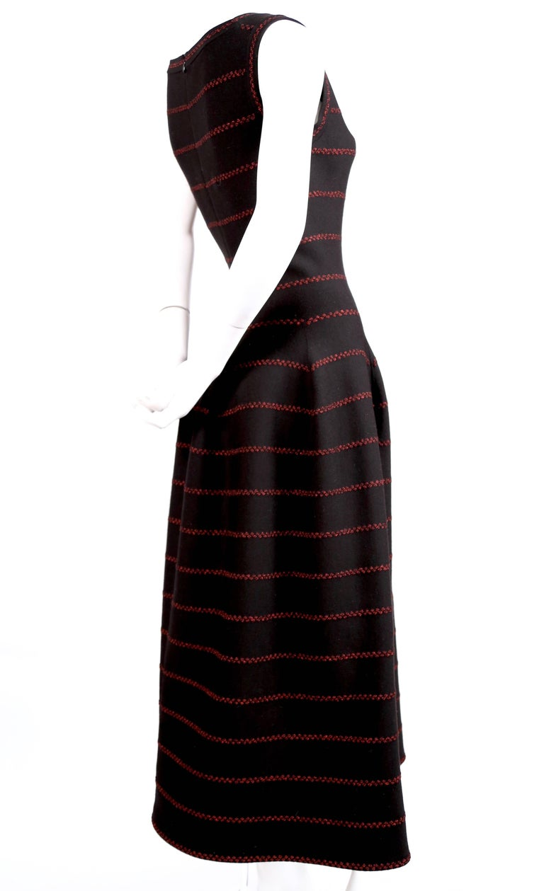 Women's Azzedine Alaia long black knit dress with red lurex detail For Sale